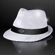 Flashing LED Sequin White Fedora Hat - Flashing LED Sequin White Fedora Hat, 5 day production Custom Imprinting.