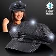Sequin Black LED Newsboy Cap Hats