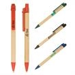 Eco-Green Paper Barrel Pen - Eco-green friendly natural recyclable paper barrel click action ballpoint pen.