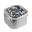 Hersheys® Kisses® in Lg Square Window Tin - Large square-shaped window tin filled with Hershey's® Kisses ®; includes a four color process imprint.