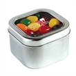 Standard Jelly Beans in Lg Square Window Tin - Large square-shaped window tin filled with standard jelly beans; includes a four color process imprint.