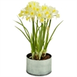 Daffodils - Yellow and white faux daffodils in a rustic metal planter with faux soil to add a touch of realism