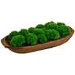 Moss - Artificial moss balls set in an attractive wood effect planter with planter soil for realistic presentation
