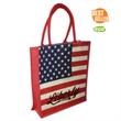 Patriotic Jute Flag Tote - American flag jute tote with full gusset and self fabric handles. - Material - Jute Fiber