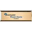 "Aspen Executive Name Badge - 1"" x 3"" .020"" metal-aluminum executive name badge with locking pinback, square corners and three lines of personalization."