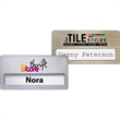 "Atlanta Vogue Name Badge - 1 1/2"" x 3"", 2-ply plastic window badge with brushed silver or gold finish."