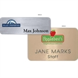 Hollywood Name Badge (Standard Sizes) - The Hollywood name tag is a popular choice that displays your full color logo & engraved personalization on a metallic plastic