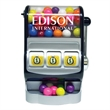 Jackpot Slot Machine Dispenser with Candy Covered Chocolate - Slot machine dispenser filled with candy covered chocolate.