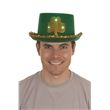 ST. PATRICK'S DAY GREEN FELT TOP HAT W/GOLD LITE UP SHAMROCK - St.Patrick's Day Green Felt Top Hat w/Gold Trim & Gold Light-Up Shamrock.  Adult Size.