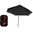 In Stock 9 FT Market Umbrella - 9ft market umbrella with 8 panel configuration, 2-piece solid wood frame, pulley feature and fade resistant cover w/ wind vents.