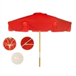 7 1/2 FT Commercial Umbrella - 7 1/2 ft., 8 panel commercial-grade umbrella with fade-resistant fabric, wood fame, fiberglass ribs, 2-piece bottom pole, etc.