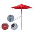 "Solar USB Market Umbrella - 7""x 6' polyester umbrella with USB solar power umbrella with dual charger, silver ribbed frame and UV treatment."