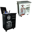 Cooler Cart - Stainless steel cooler cart with four caster wheels.