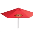 7 FT Telescopic Aluminum Market Umbrella - 7ft telescopic aluminum market umbrella with 6 panel configuration, silver ribbed frame, easy open feature, polyester cover, etc.