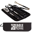3 Piece BBQ Set - Three-piece BBQ set with tongs, fork and spatula in a matching zipper case.