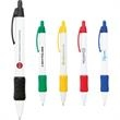 The Gripper Pen - Tradition - White, plastic, retractable ballpoint pen with grip section.