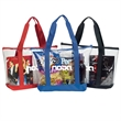Clear Zipper Tote With Pocket - Clear zipper tote bag made of heavy clear PVC material with a front pocket and colored 600 denier fabric bottom and trim.