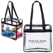 NFL & PGA Compliant Clear Stadium Tote - Clear stadium tote bag with clear open front pocket.
