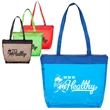 Tinted Jelly Zipper Tote - Tinted see-through jelly colored tote with matching colored fabric handles.