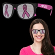 Pink Ribbon Neon Pink Billboard Sunglasses - Breast Cancer Awareness billboard sunglasses made of plastic with pink ribbon on both lenses.