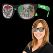 Kiss Me I'm Irish Neon Green Billboard Sunglasses - Kiss Me I'm Irish plastic billboard sunglasses with black and neon green coloring.