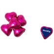 Individual Chocolate Candy Hearts - Individually wrapped chocolate candy hearts filled with milk or dark chocolate.   Comes in red, silver, or pink foil colors.