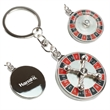 Mini Roulette Spinning Key Tag - Miniature metal vegas style roulette spinning wheel keychain.