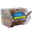Large Candy Bin Dispenser with Chocolate Littles Candy - Large house shaped candy bin dispenser with chocolate littles compare to M&M®candy.