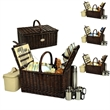 Buckingham Picnic Basket for Four with Coffee Set - Traditional full willow handcrafted basket outfitted for four people with coffee set.