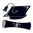 Black Graduation Day Temporary Tattoos - Black Graduation Cap and Scroll Temporary Tattoo