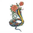 Traditional Cobra with Flowers Temporary Tattoo - Traditional Cobra with Flowers Temporary Tattoo