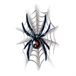 Black Widow with Web Temporary Tattoo - Black Widow Temporary Tattoo