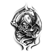 Black Grim Reaper Temporary Tattoo - Grim Reaper Temporary Tattoo