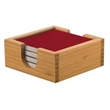 Ceramic 4 Red Coaster Set With Bamboo Holder - Ceramic 4 Red Coaster Set With Bamboo Holder.
