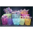 """13/9"""" x 3"""" x 10"""" Frosted Colored Poly Trapezoid - 13/9"""" x 3"""" x 10"""" Frosted trapezoid shaped bag with matching tri-fold handle."""