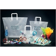 Frosted Clear Poly Trapezoid Bags - Frosted trapezoid shaped bags with matching tri-fold handle.