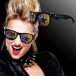 Rock Star Billboard Sunglasses - Rock star billboard sunglasses made of black plastic with themed design on both lenses.
