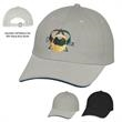 Cotton Chino Sandwich Cap - Cotton chino 6 panel cap with pre-curved visor and 6 sewn eyelets.