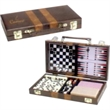 6-in-1 Combination Game Set in Attache Case - Game Set which includes Chess, Checkers, Backgammon, Cribbage, Domino, and Playing Cards.