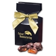 Chocolate Sea Salt Caramels in Navy Gift Box - navy gift box filled with chocolate sea salt caramels