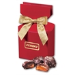 Chocolate Sea Salt Caramels in Red Gift Box - red gift box filled with chocolate sea salt caramels
