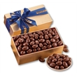 Chocolate Covered Almonds in Gold Gift Box - gold gift box filled with chocolate covered almonds