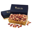 Deluxe Mixed Nuts in Navy & Gold Gift Box - navy and gold gift box filled with deluxe mixed nuts