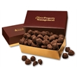 Cocoa Dusted Truffles in Burgundy & Gold Gift Box - Burgundy and gold gift box filled with cocoa dusted truffles