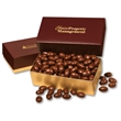 Chocolate Covered Almonds in Burgundy & Gold Gift Box - Burgundy and gold gift box filled with chocolate covered almonds