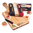 Cheese Lover's Sampler - paddle cutting board with cheese, sausage, and crackers