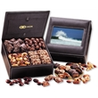 Faux Leather Photo Frame Keepsake Box - faux leather photo frame keepsake box filled with nuts and chocolates