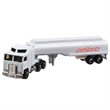Die Cast White Tanker Trailer Truck - Die cast white tanker trailer truck; made of metal and plastic and has moveable wheels and realistic features.