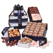 Navy Snowflake Gourmet Sampler Tower - navy snowflake tower filled with chocolates and nuts