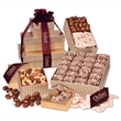 Gold Striped Gourmet Sampler Tower - gold striped tower filled with chocolates and nuts